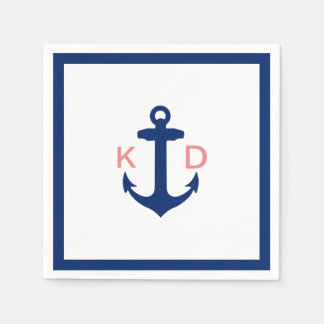 Nautical Anchor Initials Simple Border Wedding Disposable Serviette