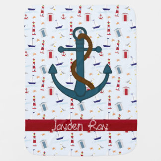 Nautical Anchor lighthouse baby blanket