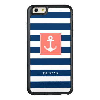 Nautical Anchor Modern Navy Stripes Monogram Name OtterBox iPhone 6/6s Plus Case