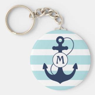 Nautical Anchor Monogram Basic Round Button Key Ring