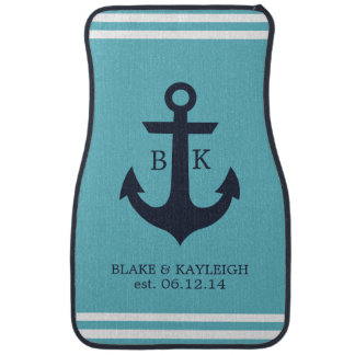 Nautical Anchor Monogram Car Mats