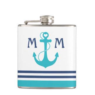 Nautical Anchor Monogram Hip Flask