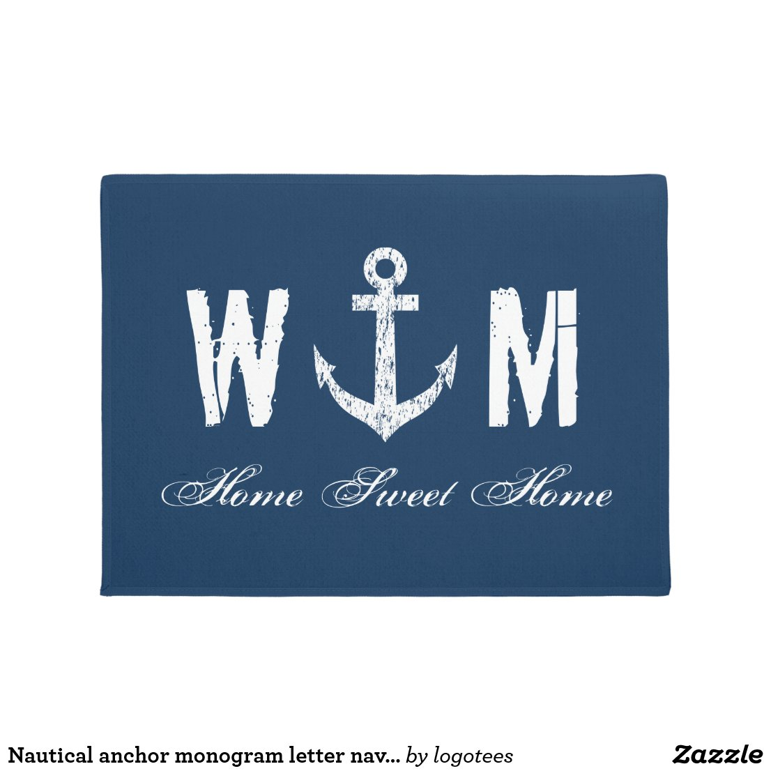 Nautical anchor monogram letter navy blue door mat