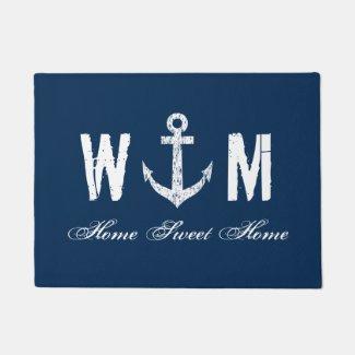 Nautical anchor monogram letter navy blue door mat