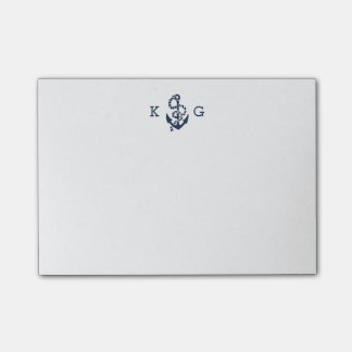 Nautical Anchor Monogram Navy Blue Post-it Notes