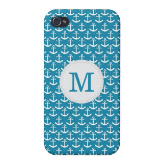 Nautical Anchor Monogram Pattern in Blue Cover For iPhone 4