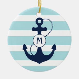 Nautical Anchor Monogram Round Ceramic Decoration