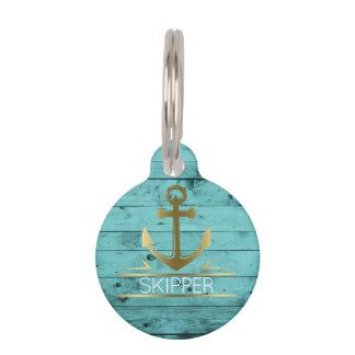 Nautical Anchor Monogram Turquoise Wood Pet Name Pet Tag