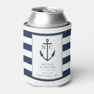 Nautical Anchor Monogram Wedding Favor Can Cooler
