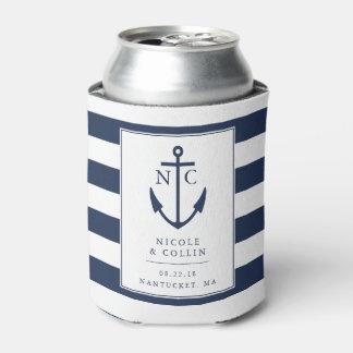 Nautical Anchor Monogram Wedding Favor Can Cooler