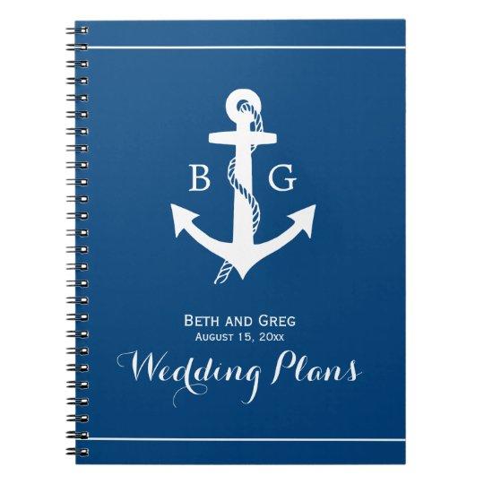 Nautical Anchor Monogram Wedding Planner Notebook