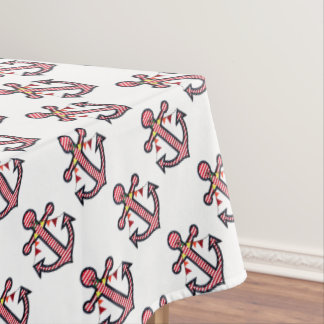 Nautical Anchor Monogram with Red & White Stripes Tablecloth