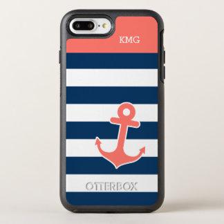 Nautical Anchor Monograms Coral Navy Stripe OtterBox Symmetry iPhone 8 Plus/7 Plus Case