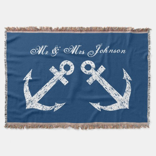 Nautical anchor mr and mrs throw blanket |