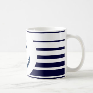 Nautical anchor mug with blue and white stripes