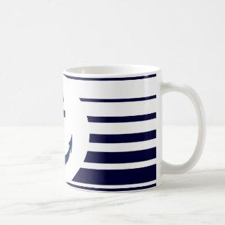 Nautical anchor mug with blue and white stripes
