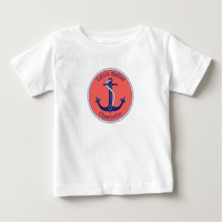 Nautical Anchor Navy and Coral Little Sailor Name Baby T-Shirt