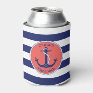 Nautical Anchor Navy and Coral Personalized Can Cooler