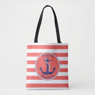 Nautical Anchor Navy and Coral Stripe Personalized Tote Bag