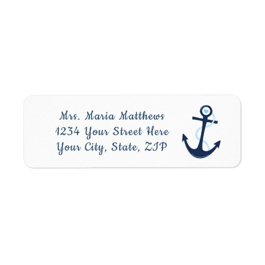 Nautical Anchor Navy Blue Address Sticker Label