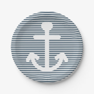 Nautical Anchor Navy Blue And White Stripes Paper Plate