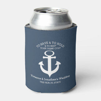 Nautical Anchor Navy Blue Can Cooler