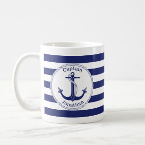 Nautical Anchor Navy Blue Captain Personalised Coffee Mug
