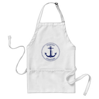 Nautical Anchor Navy Blue Captain Personalized Standard Apron