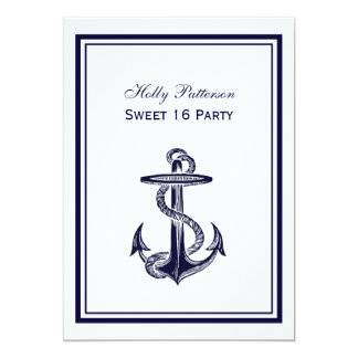 Nautical Anchor Navy Blue Framed 2V Sweet 16 13 Cm X 18 Cm Invitation Card