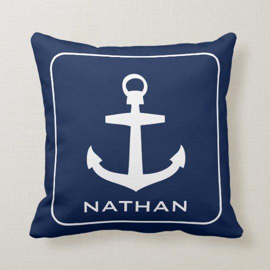 Nautical Anchor Navy Blue Name Custom Cushion