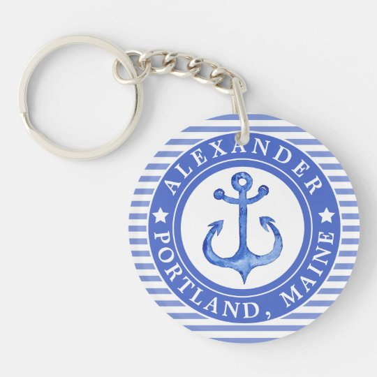 Nautical Anchor Navy Blue Personalised Key Ring