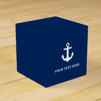 Nautical Anchor Navy Blue Personalized Favour Box