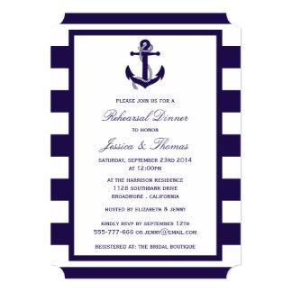Nautical Anchor Navy Blue Stripe Rehearsal Dinner 13 Cm X 18 Cm Invitation Card