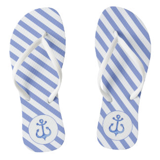 Nautical Anchor | Navy Blue Striped Flip flops