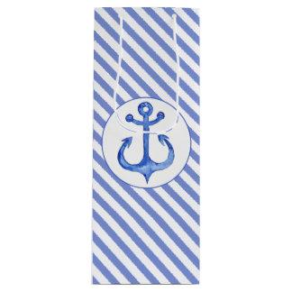 Nautical Anchor - Navy Blue Striped Gift Bag