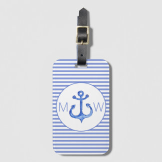 Nautical Anchor | Navy Blue Striped Luggage Tag