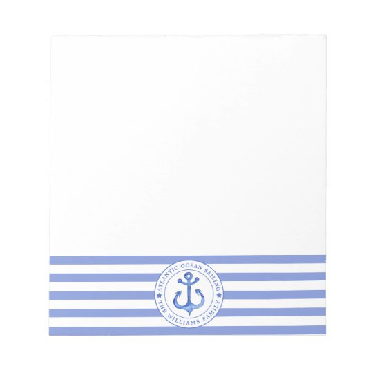 Nautical Anchor Navy Blue Striped Personalised Notepad