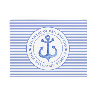Nautical Anchor Navy Blue Striped Personalized Doormat