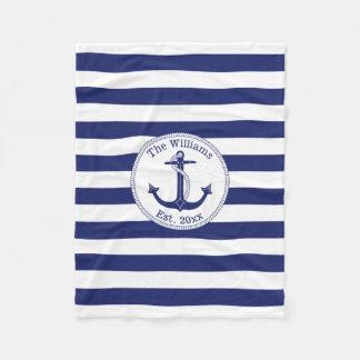 Nautical Anchor Navy Blue Stripes Family Name Fleece Blanket