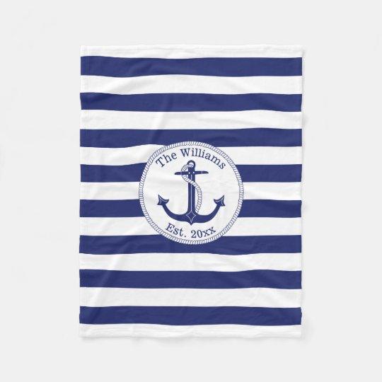 Nautical Anchor Navy Blue Stripes Family Name Fleece
