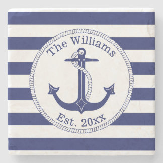 Nautical Anchor Navy Blue Stripes Family Name Stone Coaster