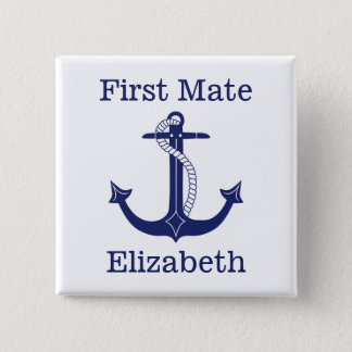 Nautical Anchor Navy Captain Personalized 15 Cm Square Badge