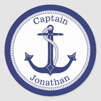 Nautical Anchor Navy Captain Personalized Classic Round Sticker