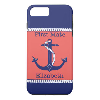 Nautical Anchor Navy Coral First Mate Personalized iPhone 8 Plus/7 Plus Case