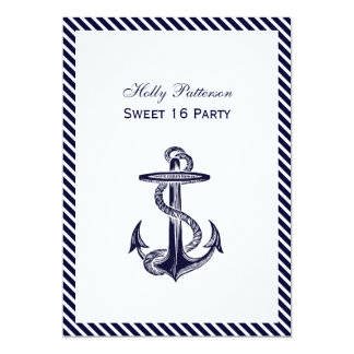 Nautical Anchor Navy Diag Stripe 2V Sweet 16 13 Cm X 18 Cm Invitation Card