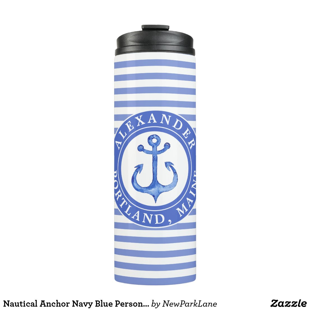 Nautical Anchor Navy Personalised Thermal Tumbler