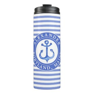Nautical Anchor Navy Personalised Thermal Tumbler