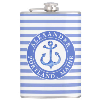 Nautical Anchor Navy Personalized Hip Flask