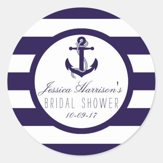 Nautical Anchor Navy Stripe Bridal Shower Favour Classic