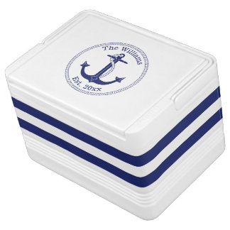 Nautical Anchor Navy Striped Family Name Igloo Cool Box